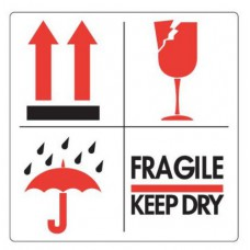 Waarschuwingsetiket Pijlen, Paraplu, Glas, Fragile/Keep dry